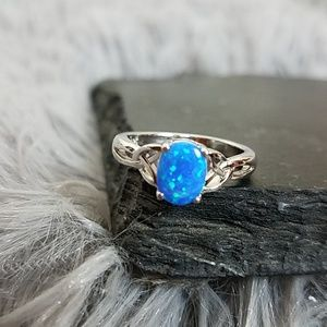 Sterling Silver Charmed Blue Lab Opal Ring